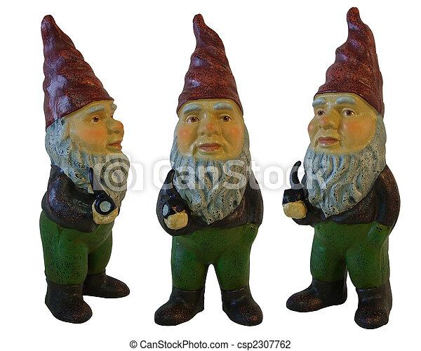 Garden Gnomes 3 aislados en blanco - csp2307762