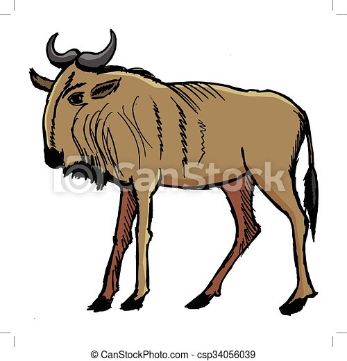 Gnu, illustration of african animal vectors - Search Clip ...