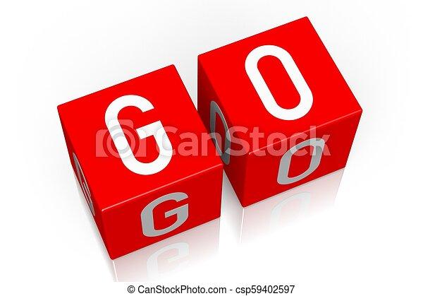 Go - 3D cube word - csp59402597