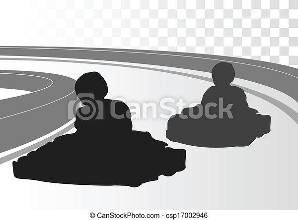 Go cart driver race track landscape background - csp17002946