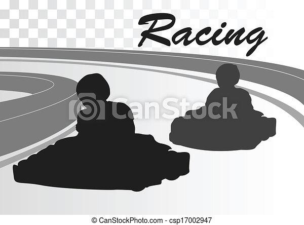 Go cart driver race track landscape background - csp17002947