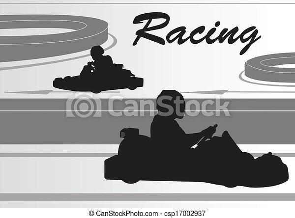 Go cart driver race track landscape background - csp17002937
