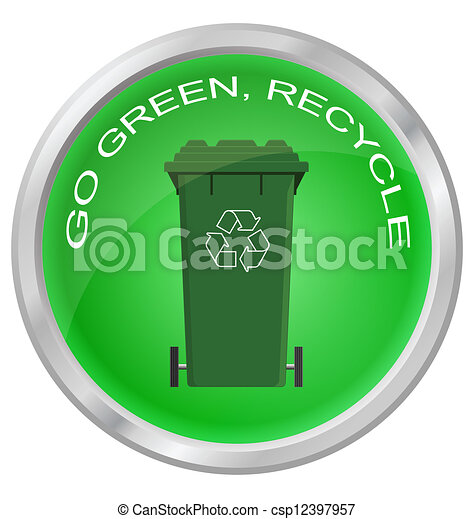 Go green and recycle button  - csp12397957