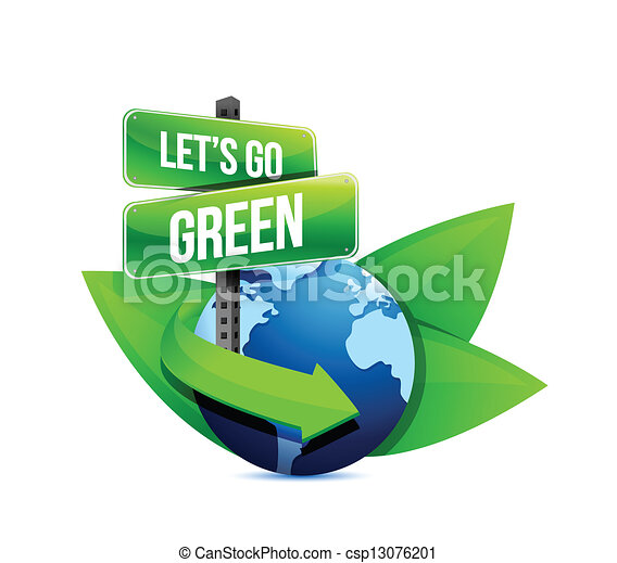 Go Green Earth Globe Help With Signs And Leaves Illustration Design