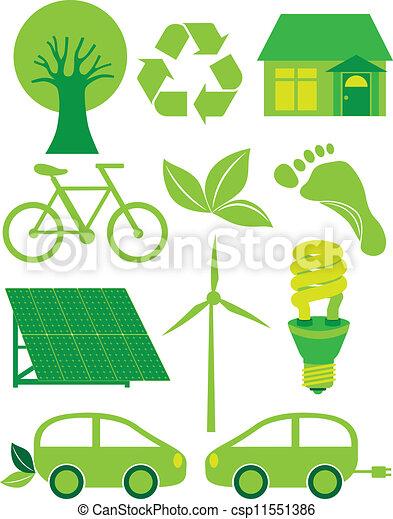 Go Green Eco Symbols Ilustration Go Green Eco Symbols With Tree