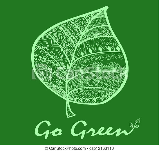 Go Green Leaf Symbol Hand Drawing Doodle Style