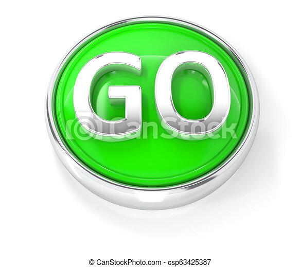 GO icon on glossy green round button - csp63425387