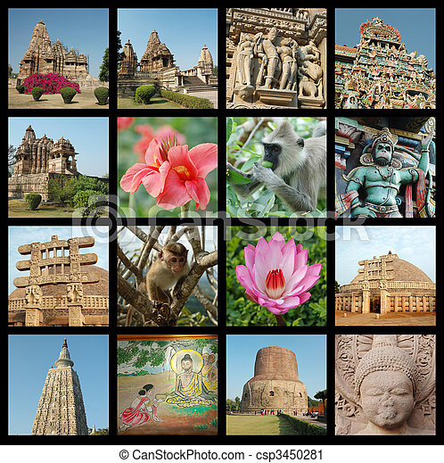 Go India collage - background with travel photos of Indian landmarks  - csp3450281