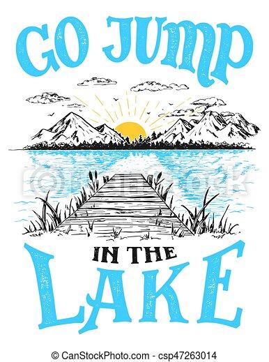 Go Jump In The Lake House Decor Sign Vector