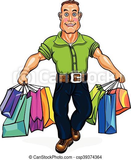 Go Shopping A Man Carrying Bags Vector