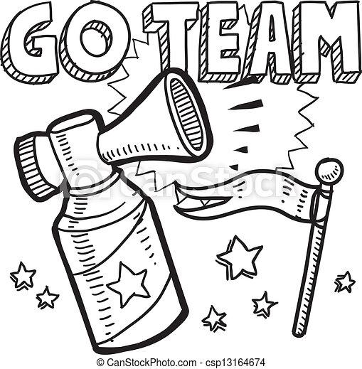 Go team air horn sketch - csp13164674
