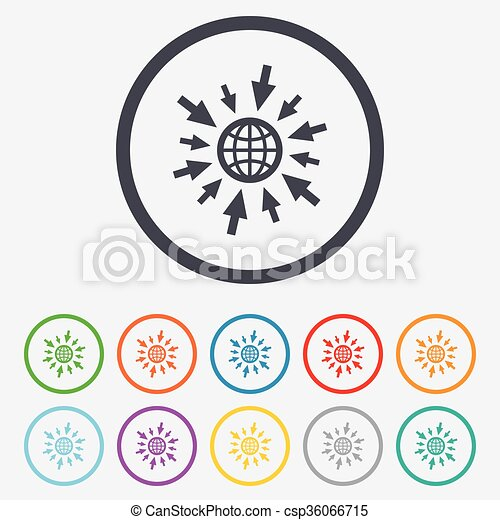 Go to Web icon. Globe with mouse cursors. - csp36066715