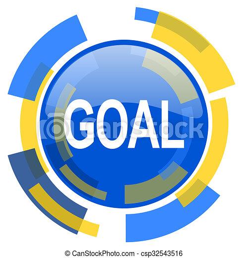 goal blue yellow glossy web icon - csp32543516