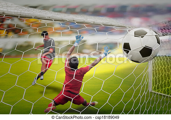 Goal highlight , shooting shot and Goalkeeper catches the ball - csp18189049