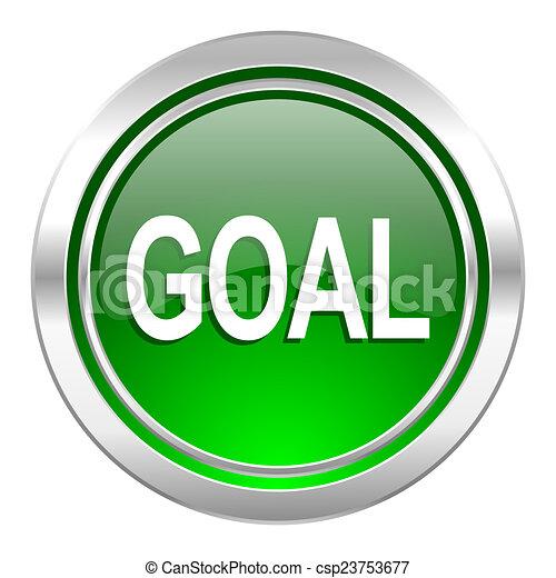 goal icon, green button - csp23753677