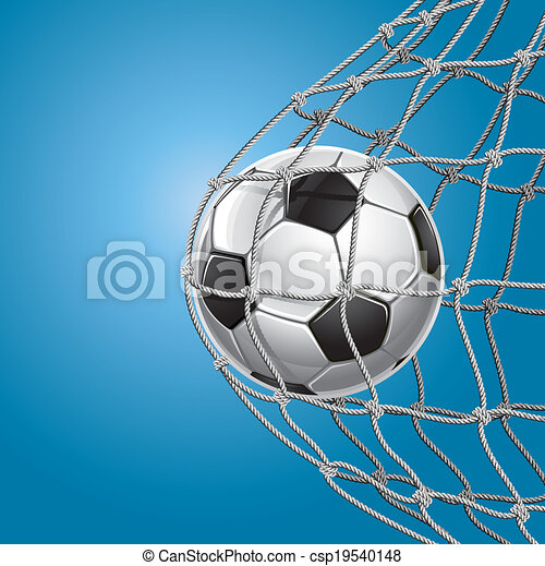 Gol de fútbol. Bola de fútbol en una red. - csp19540148
