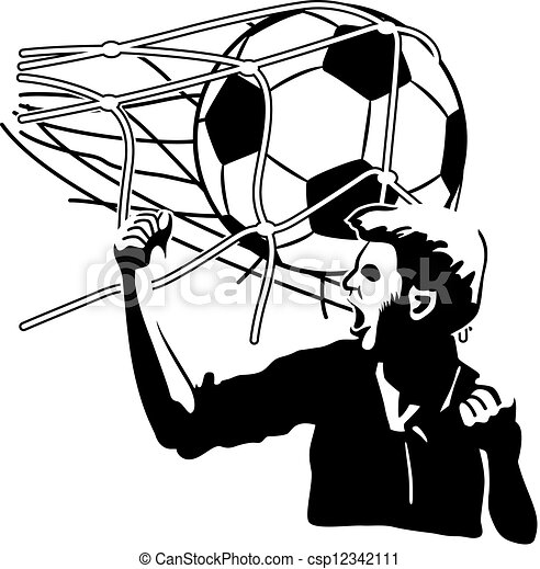 goal football player exulting while the ball inflates the vector rh canstockphoto com soccer goal clipart black and white soccer goal clip art free
