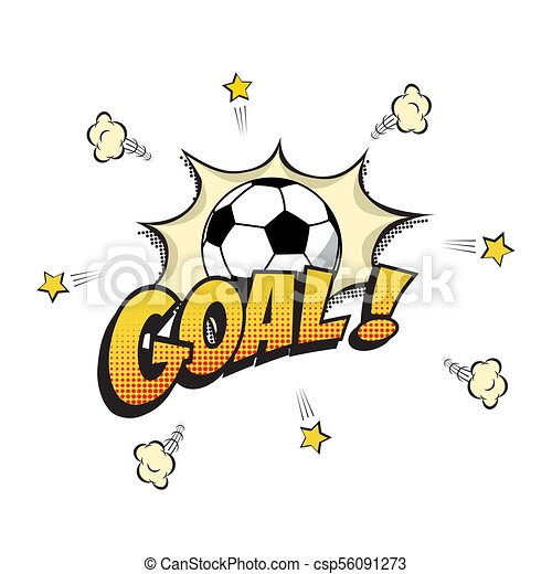 Goal word with football ball in cartoon or comic book style  Vector  illustration