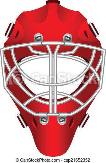 Goalie Helmet Realistic Red Goalie Helmet For Ice Hockey