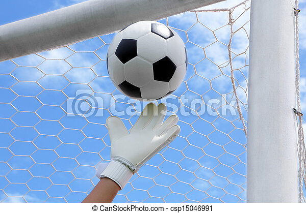 Goalkeeper (termed goaltender, netminder, goalie, or keeper in some sports) is a designated player charged with directly preventing the opposing team from scoring by intercepting shots at goal. - csp15046991