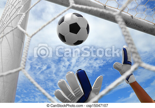 Goalkeeper (termed goaltender, netminder, goalie, or keeper in some sports) is a designated player charged with directly preventing the opposing team from scoring by intercepting shots at goal. - csp15047107