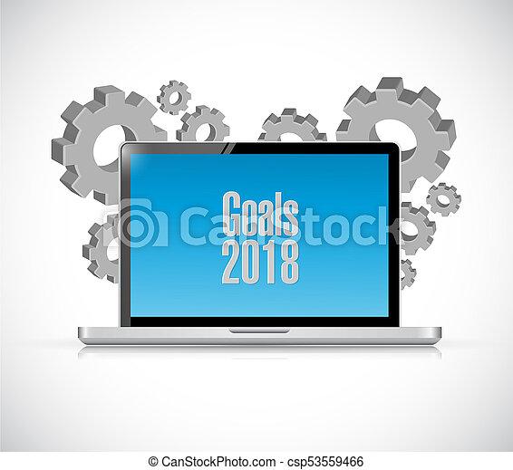 goals 2018 laptop sign illustration design - csp53559466
