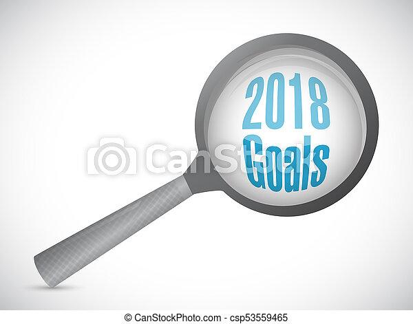 goals 2018 magnify glass sign illustration - csp53559465