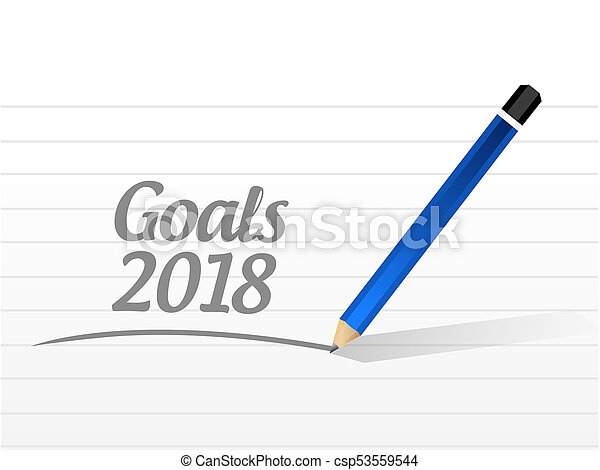 goals 2018 message sign illustration design - csp53559544