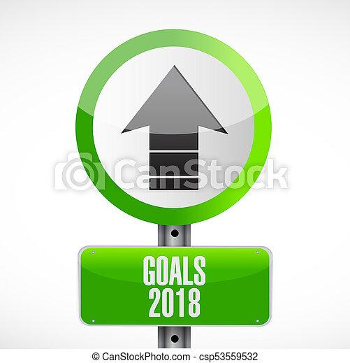 goals 2018 metallic sign illustration design - csp53559532