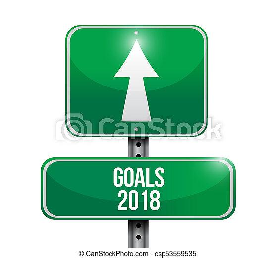 goals 2018 road sign illustration design - csp53559535