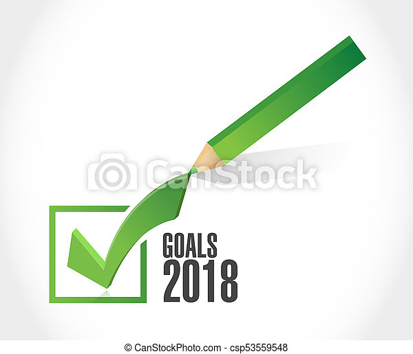 goals 2018 sign check mark design - csp53559548