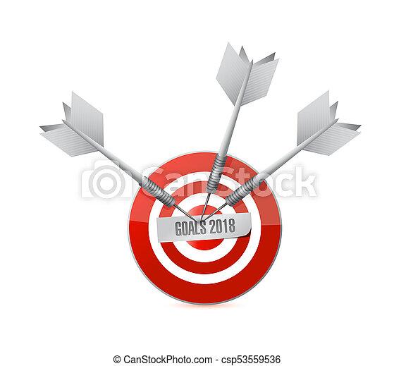 goals 2018 target sign illustration design - csp53559536