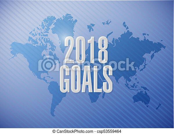 goals 2018 world map sign illustration design - csp53559464