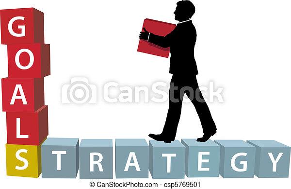 GOALS STRATEGY man builds business blocks - csp5769501