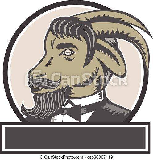 Goat Beard Head Circle Woodcut - csp36067119