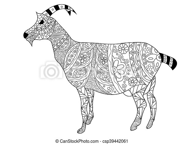 24d3c19ab Goat coloring vector for adults. Goat coloring book for adults ...
