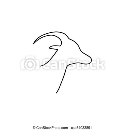 Goat head line icon - csp84033891