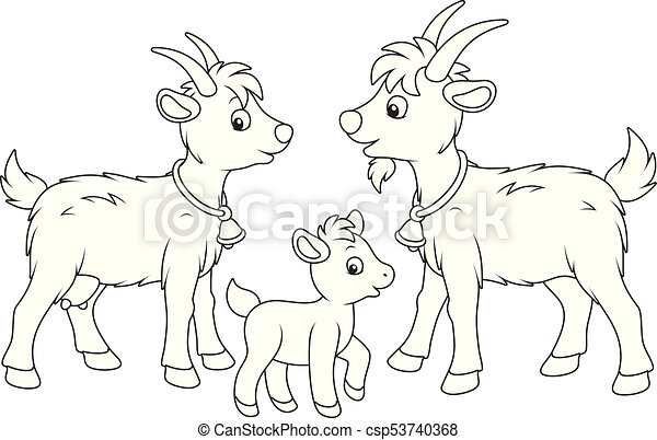 A Funny Goat Family Black And White Vector Illustration In Cartoon Style For Coloring Book