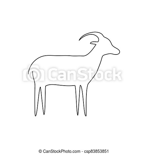 Goat line icon. Farm animal - csp83853851