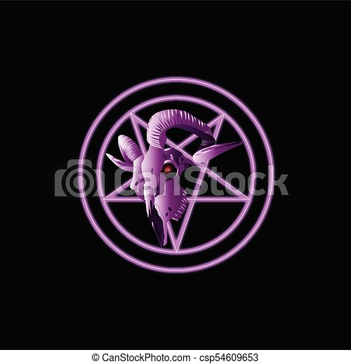 Goat Skull Pentagram Symbol Modern Style On A Black Background