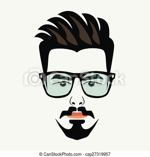 goatee beard young hipster male with blue lenses glasses and
