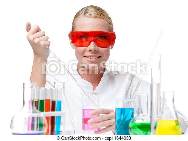 gobelet, pourpre, essais, chimiste, liquide - csp11644033