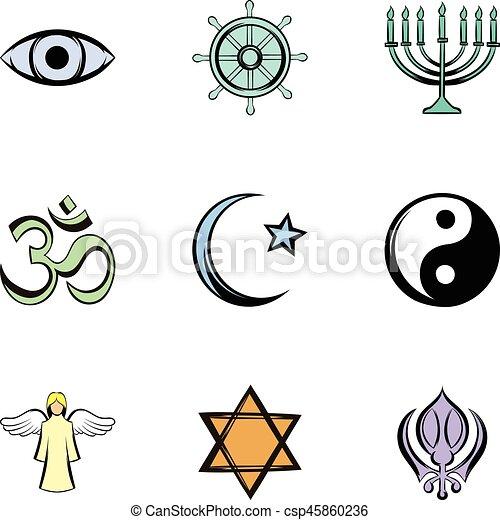God icons set, cartoon style - csp45860236