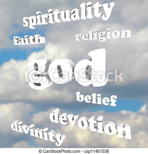 God Spirituality Words Religion Faith Divinity Devotion - csp11451538