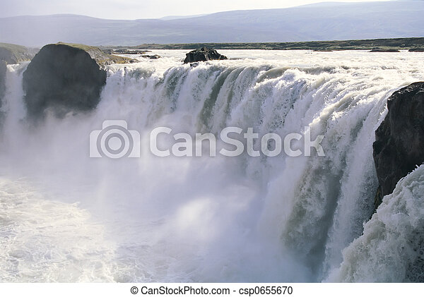 godafoss, 아이슬란드, 폭포 - csp0655670
