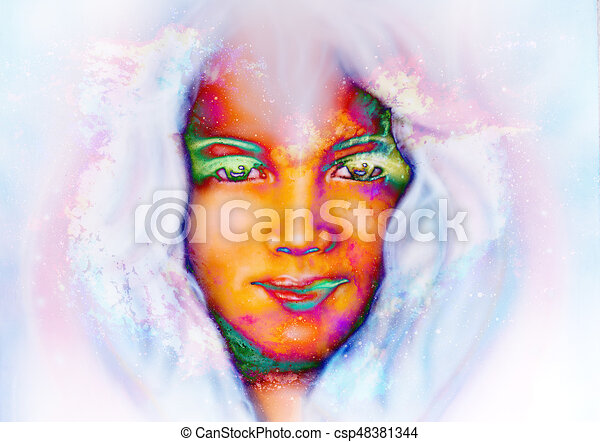 Line Art Effect Photo : Goddess child in cosmic space. space background. eye