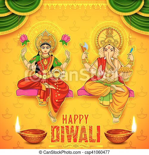 Goddess Lakshmi and Lord Ganesha on happy Diwali Holiday doodle background for light festival of India - csp41060477