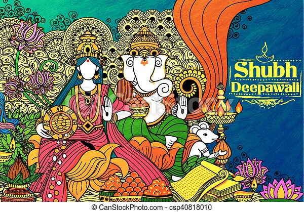Goddess Lakshmi and Lord Ganesha on happy Diwali Holiday doodle background for light festival of India - csp40818010