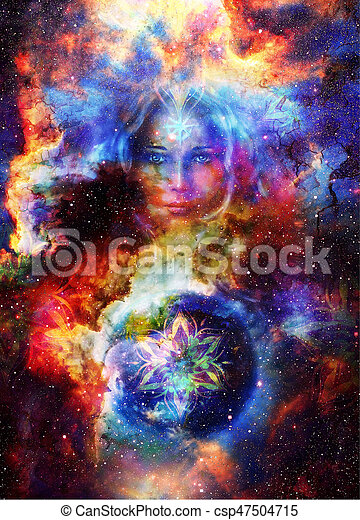 Goddess Woman with ornamental mandala and planet earth. Cosmic Space background. - csp47504715