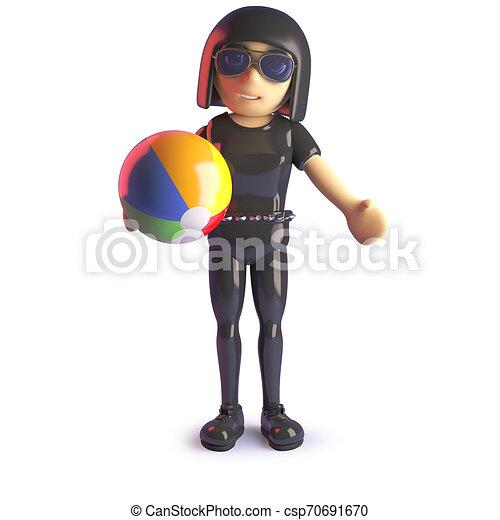 La chica gótica está de vacaciones y juega con una pelota de playa, ilustración 3D - csp70691670